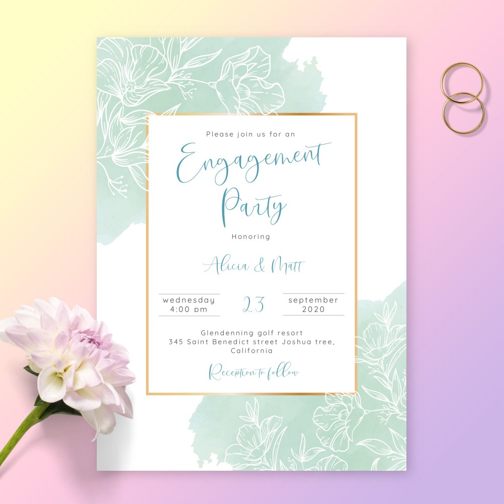 Customize and Download Romantic Blue Floral Engagement Party Invitation