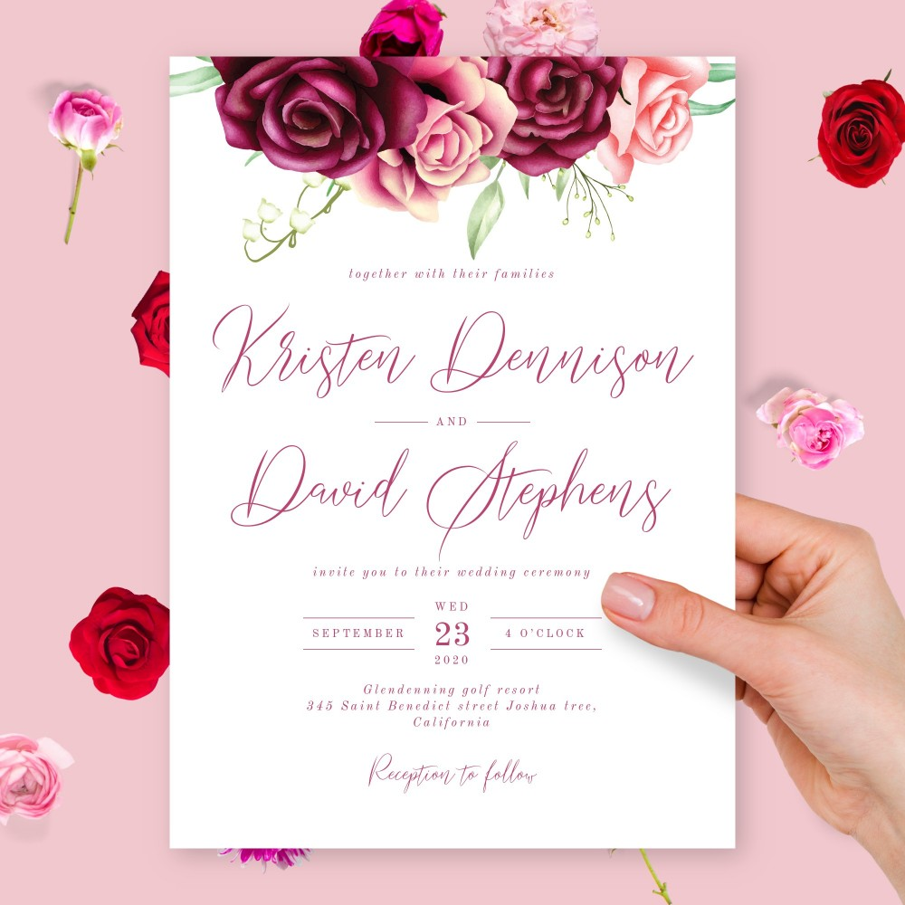 Customize and Download Romantic Burgundy Floral Wedding Invitation