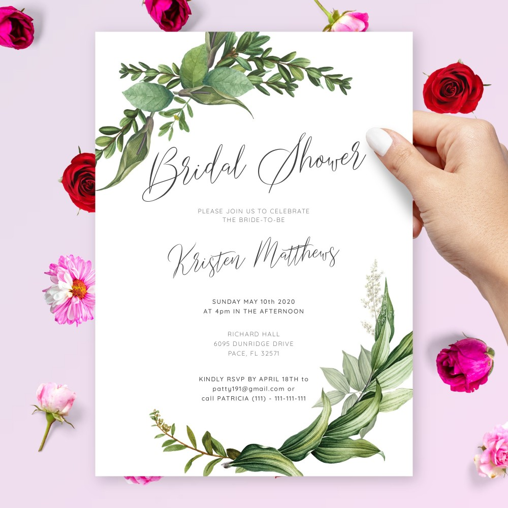 Customize and Download Romantic Greenery Bridal Shower Invitation