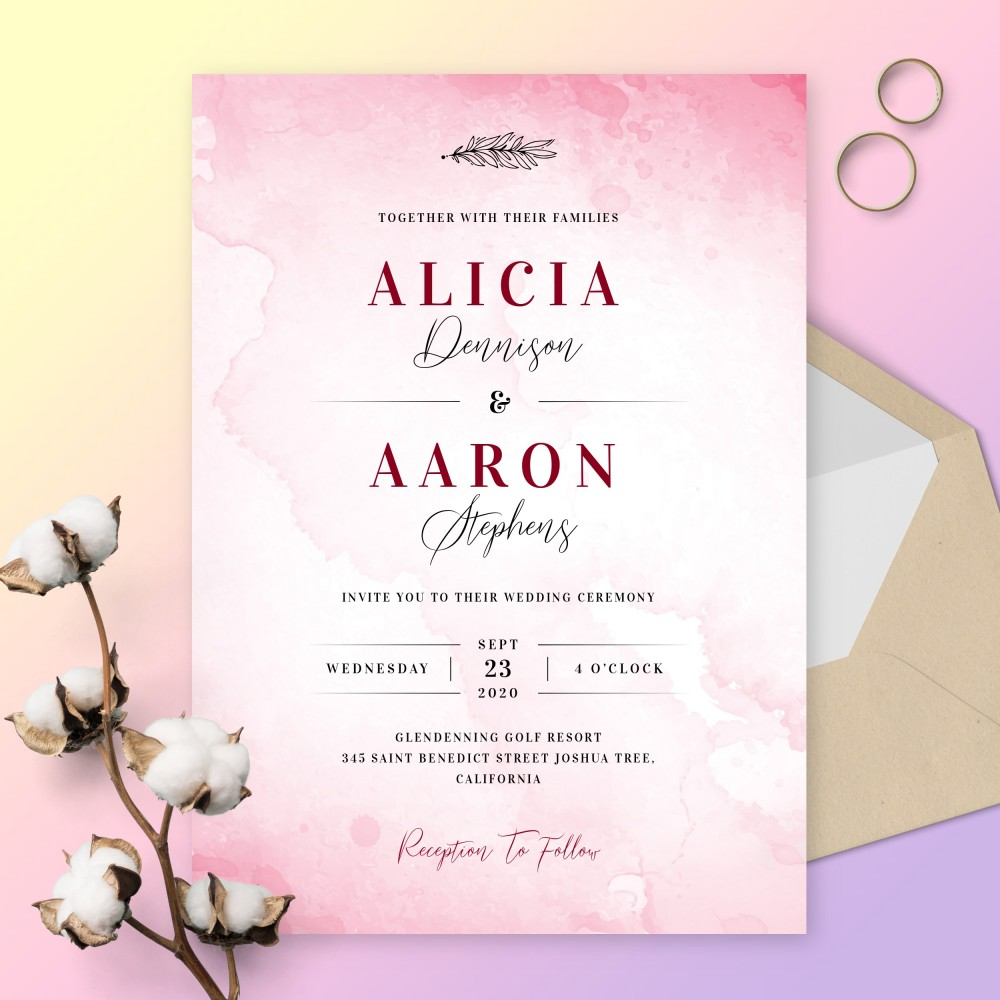 Customize and Download Romantic Pink Watercolor Wedding Invitation