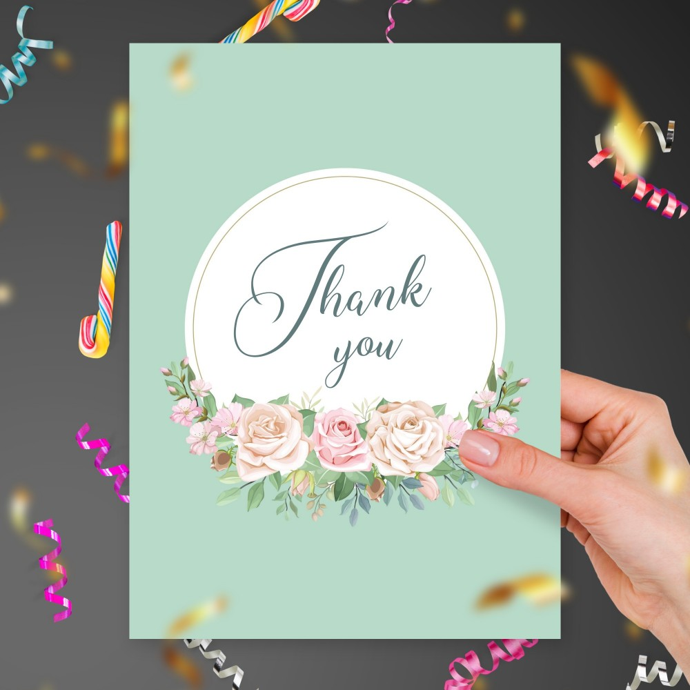 Customize and Download Roses Bouquet Blue Thank You Card