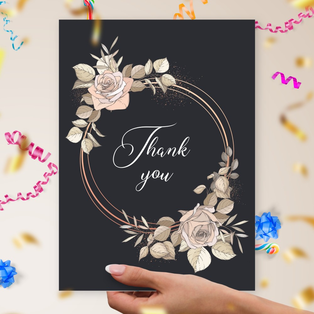 Customize and Download Roses Circle Black Thank You Card