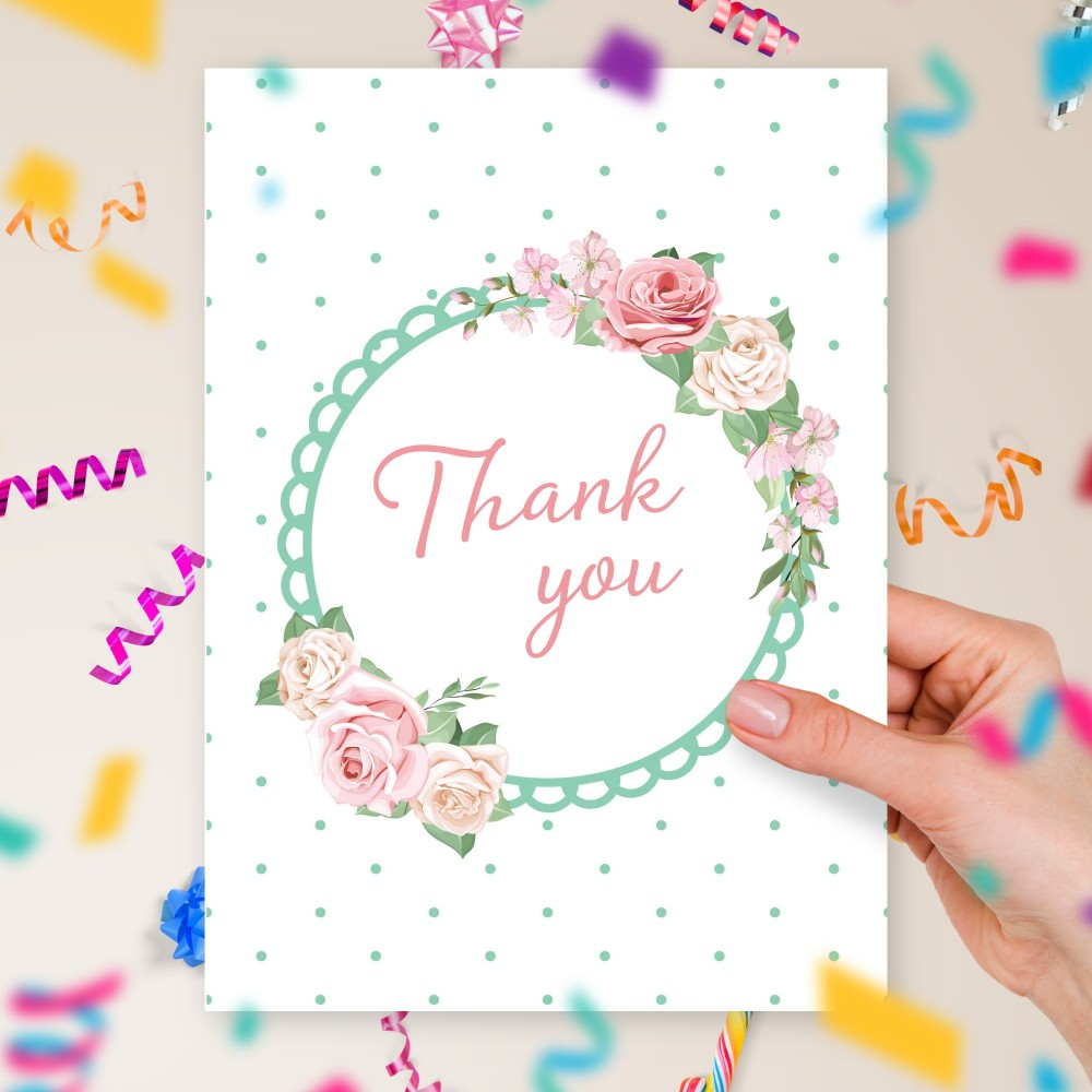 Customize and Download Roses Wreath Birthday Thank You Card