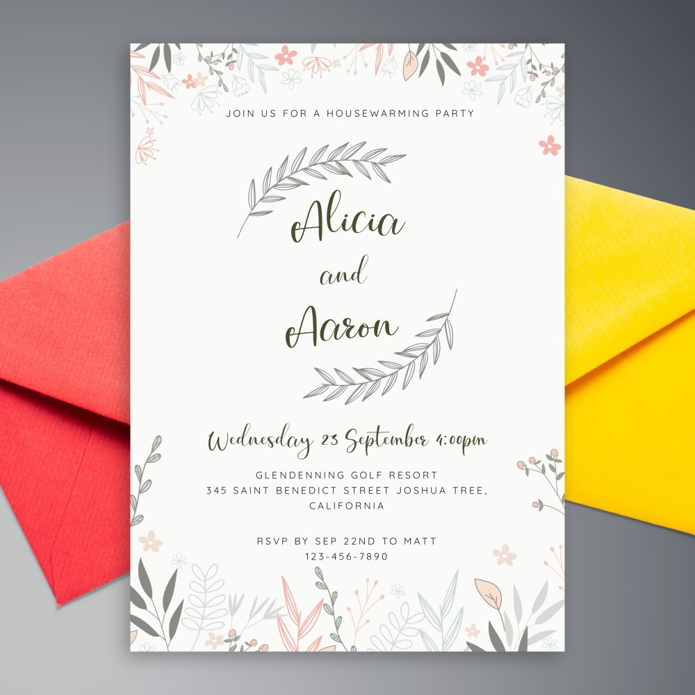 Customize and Download Rustic Botanical Housewarming Invitation