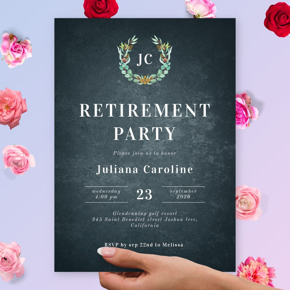 Customize and Download Rustic Chalkboard Retirement Party Invitation