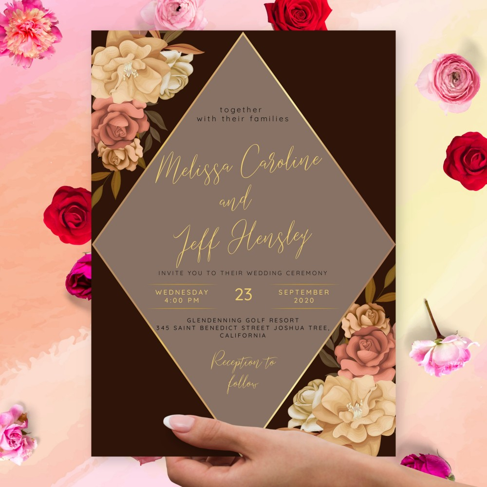 Customize and Download Rustic Peony Fall Wedding Invitation