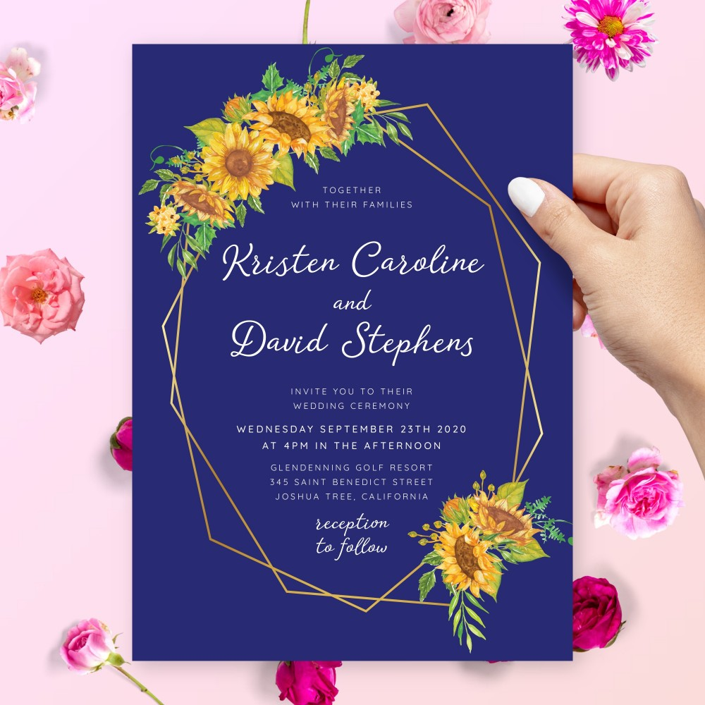 Customize and Download Rustic Sunflower Blue Geometric Wedding Invitation