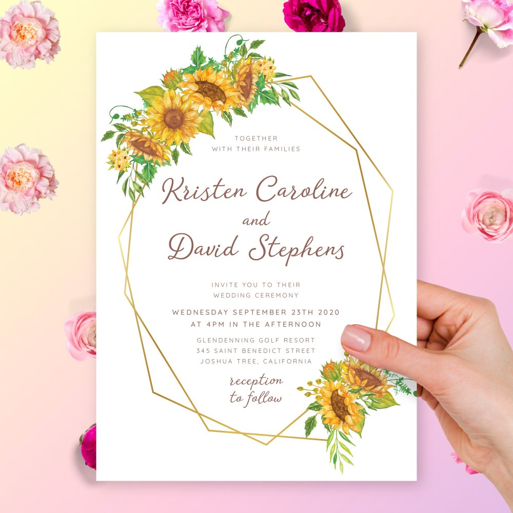 Customize and Download Rustic Sunflower Geometric Wedding Invitation