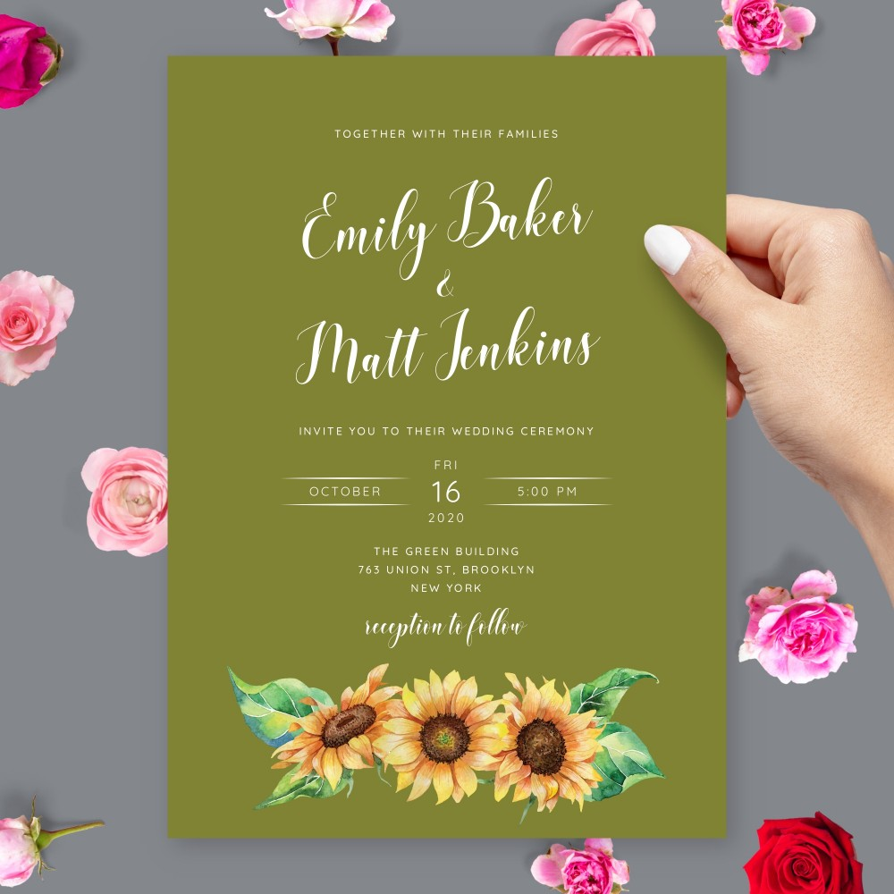 Customize and Download Rustic Sunflower Olive Wedding invitation