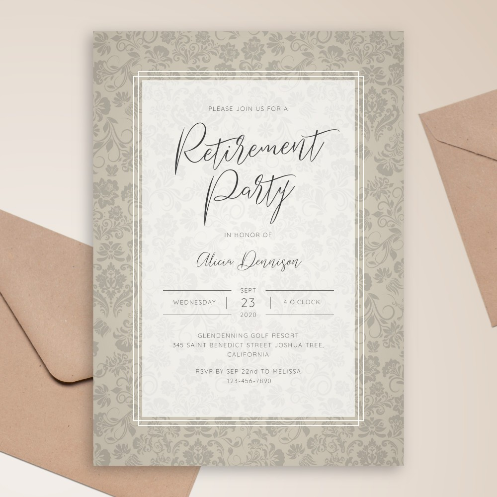 Customize and Download Rustic Vintage Floral Retirement Party Invitation