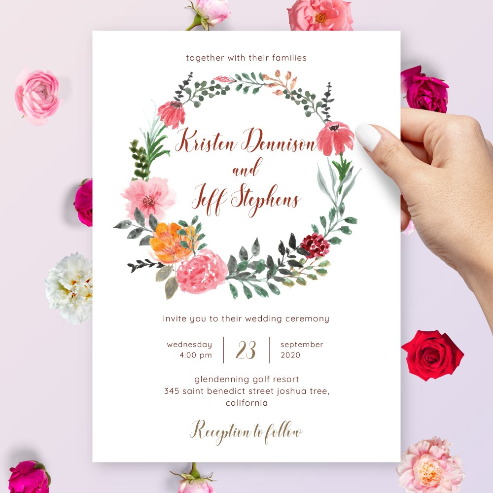 Customize and Download Rustic Watercolor Floral Wreath Wedding Invitation