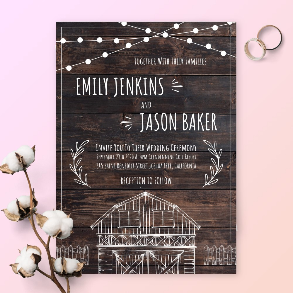 Customize and Download Rustic Wood Barn Wedding Invitation