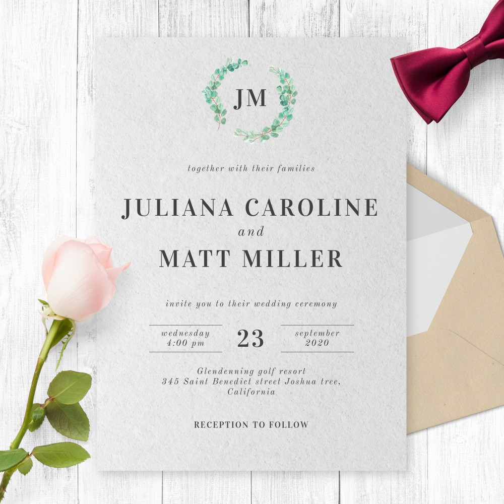 Customize and Download Simple Boho Greenery Wreath Wedding Invitation