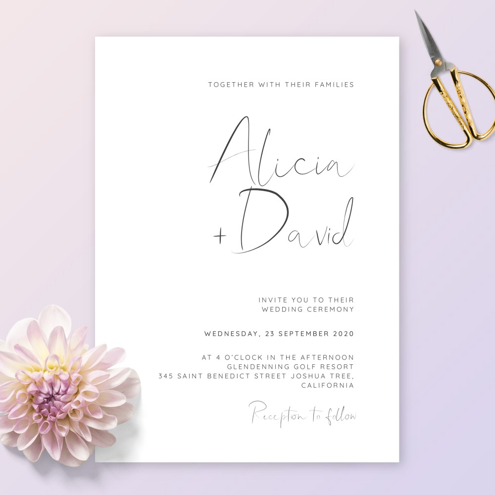 Customize and Download Simple Calligraphy Elegant Wedding Invitation