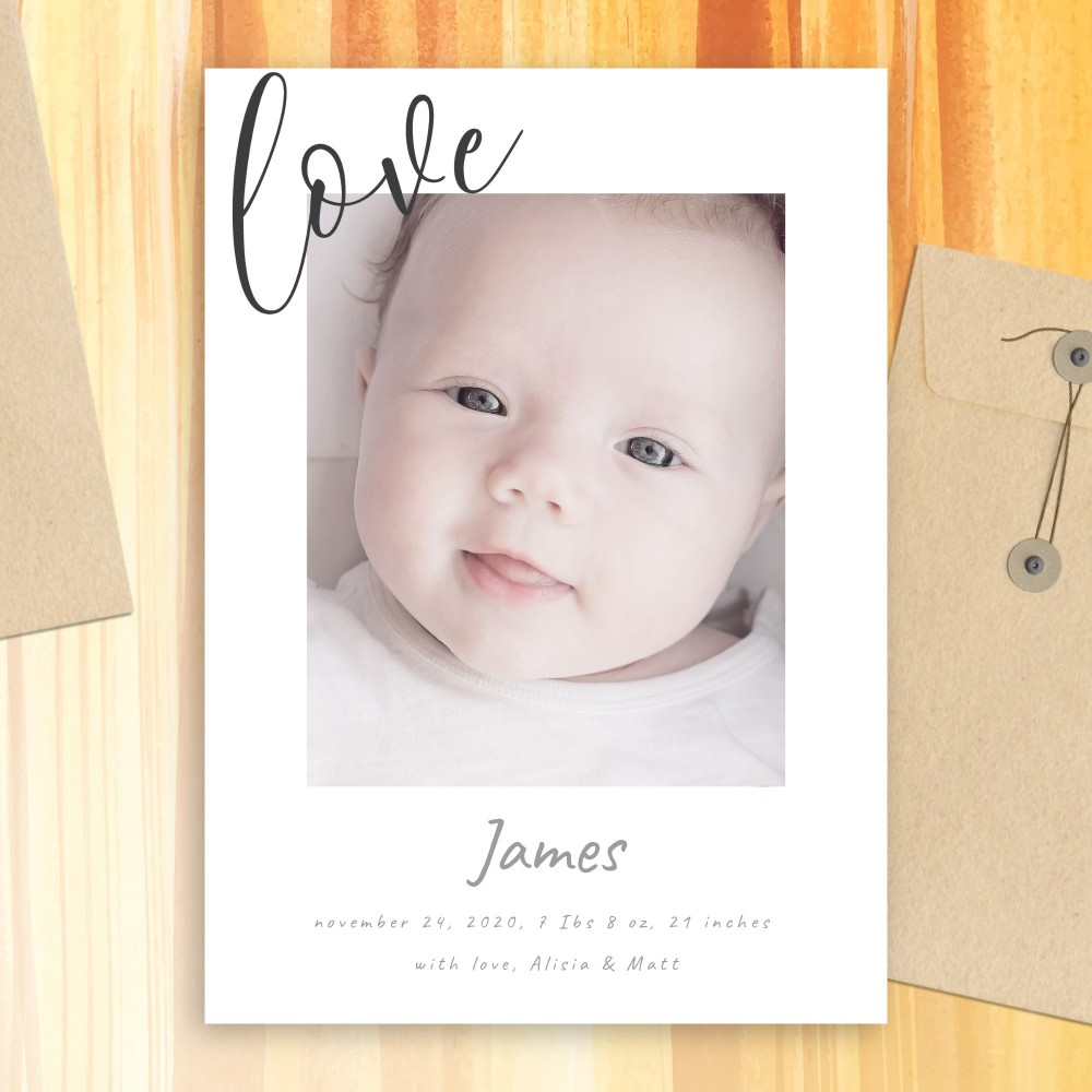 Customize and Download Simple Minimalist Birth Announcement Card