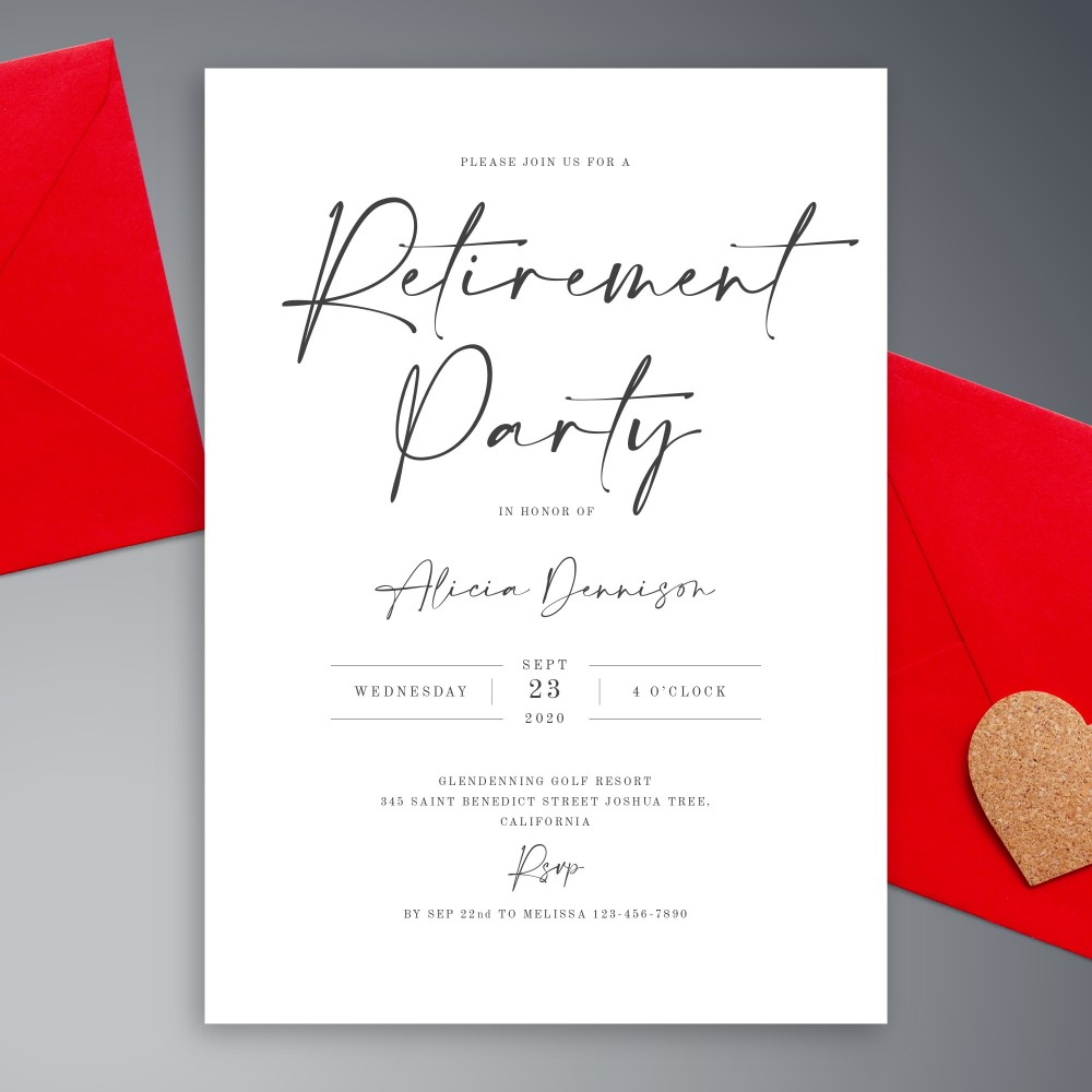Customize and Download Simple Modern Calligraphy Retirement Party Invitation