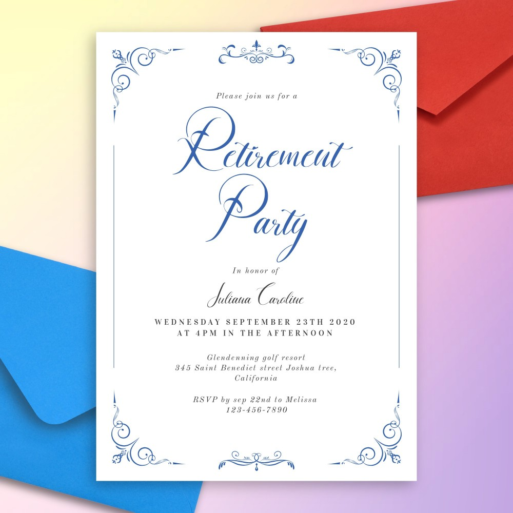 Customize and Download Simple Vintage Blue Retirement Party Invitation