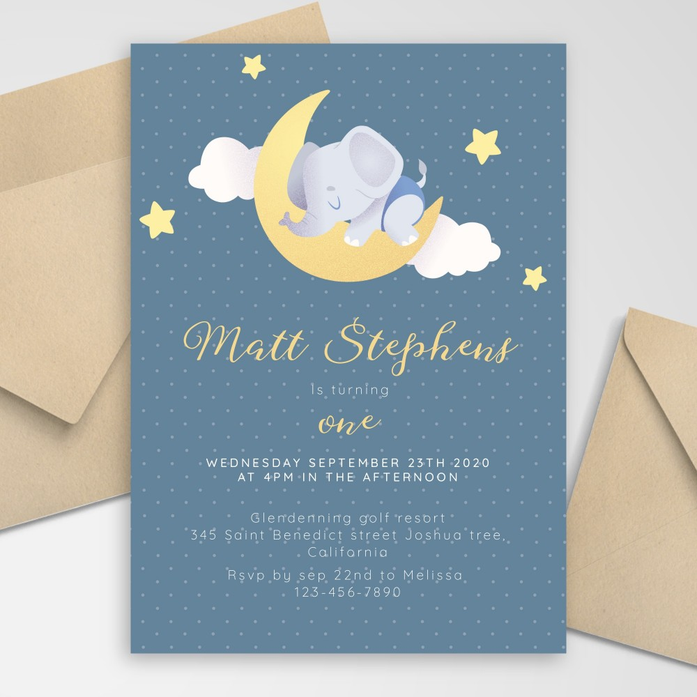 Customize and Download Sleeping Elephant Blue Baby 1st Birthday Invitation