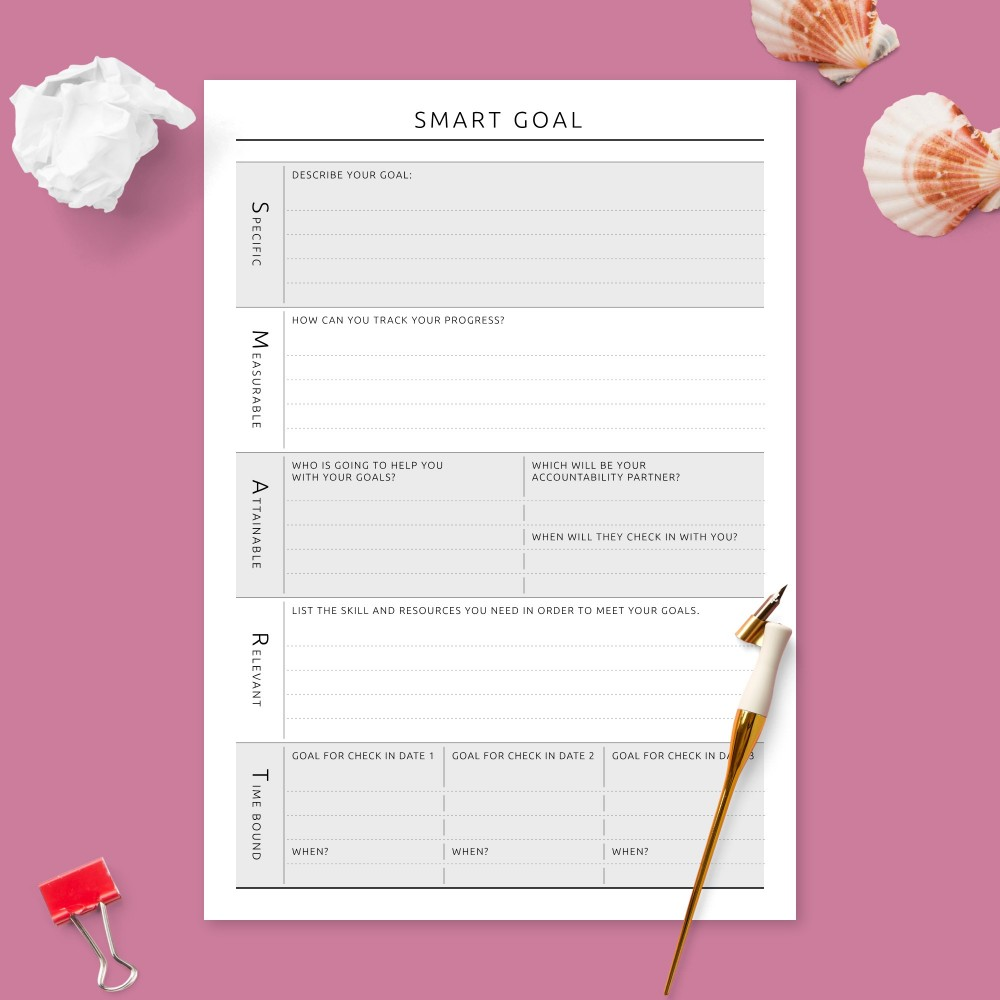 Download Printable Smart Goal Organizer Template