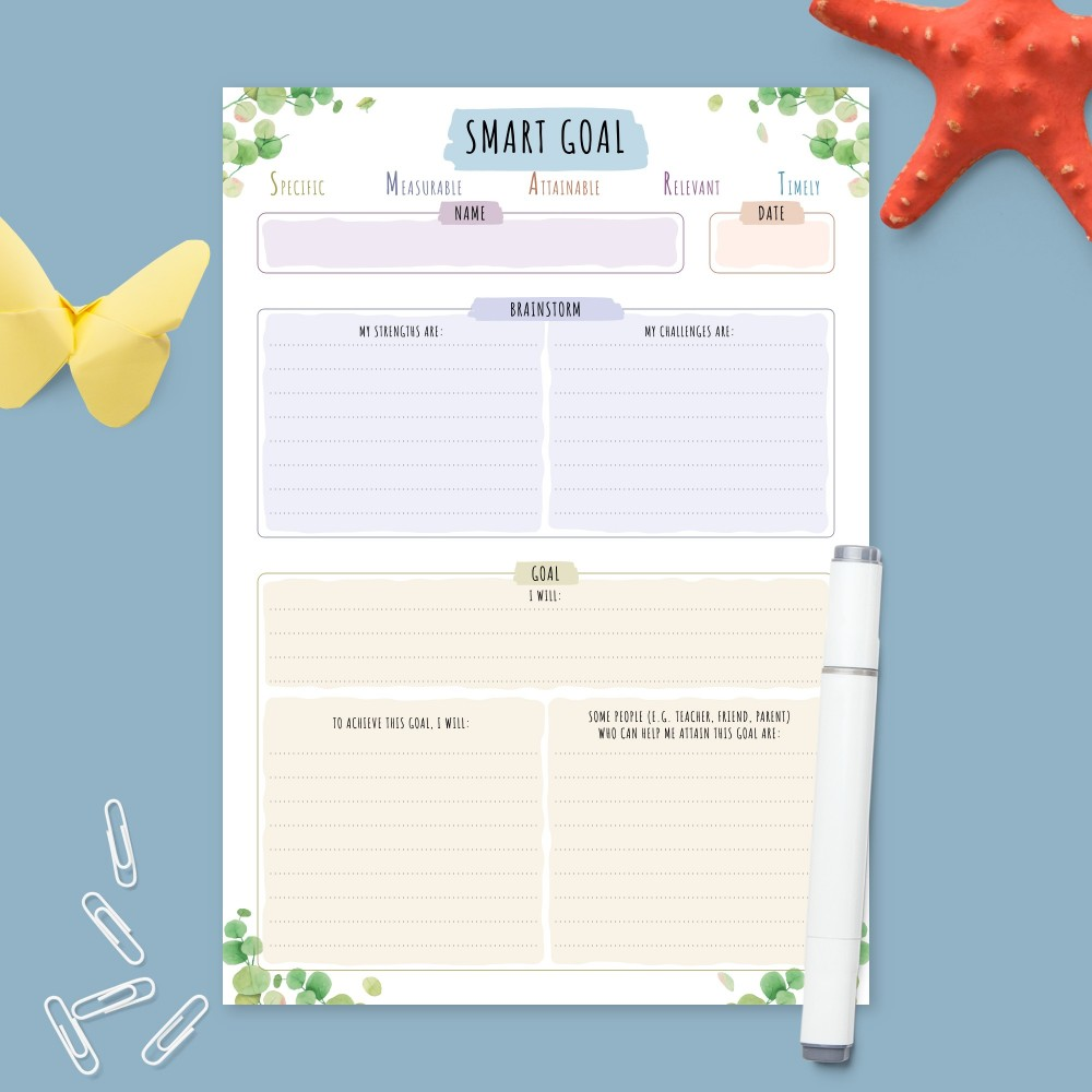 Download Printable Smart Goal Planner - Botanical Design Template