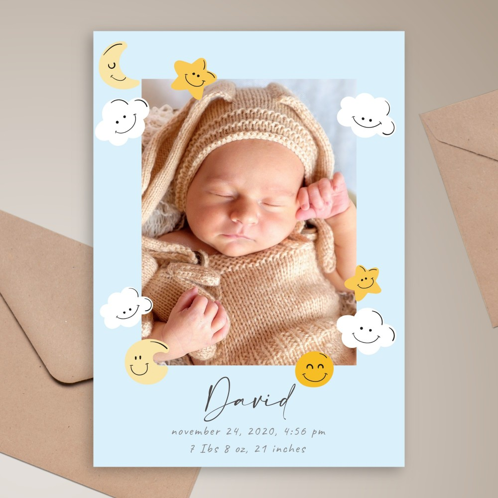Customize and Download Smiling Sky Birth Announcement Card