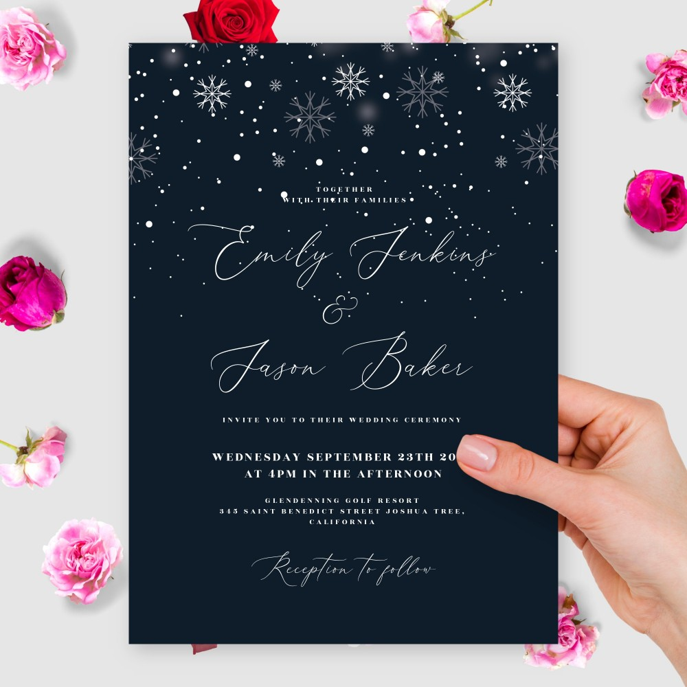 Customize and Download Snowflakes Winter Wedding Invitation