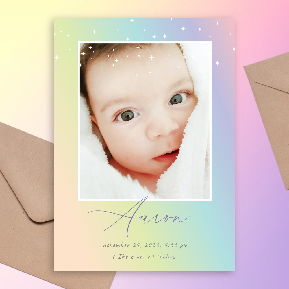 Customize and Download Sparkling Rainbow Birth Announcement Card
