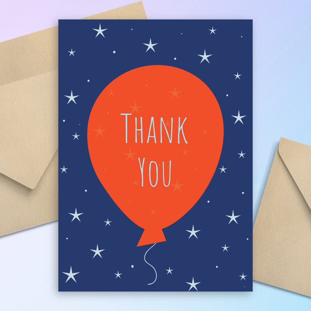 Customize and Download Sparkling Stars Balloon Birthday Thank You Card