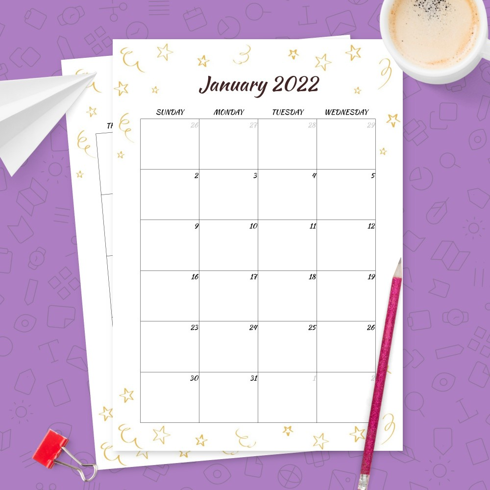 Download Printable Sparkling Stars Birthday Calendar Template