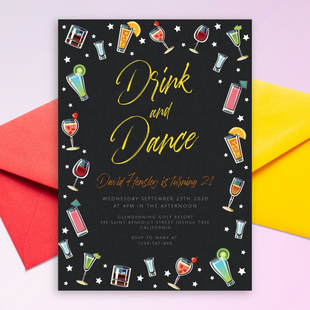 Customize and Download Stars and Cocktails Drink and Dance Party Invitation