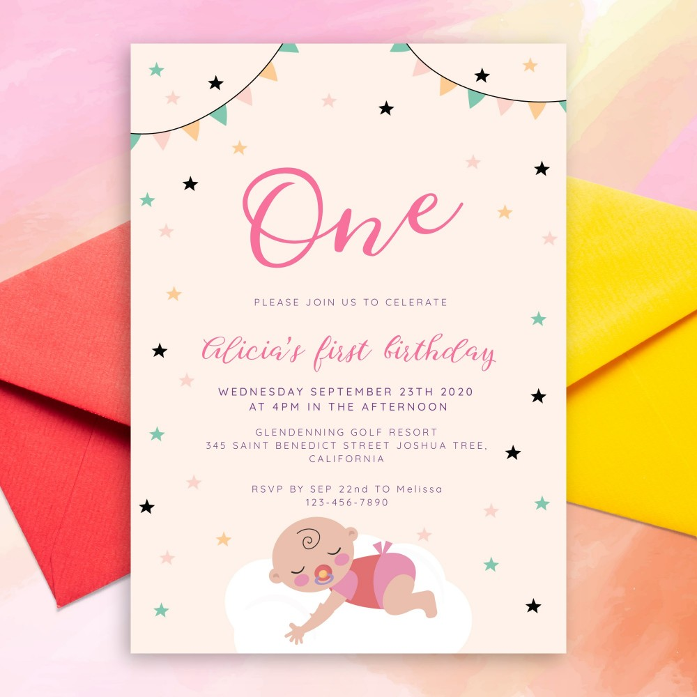 Customize and Download Stars and Flag Garland Baby 1st Birthday Invitation