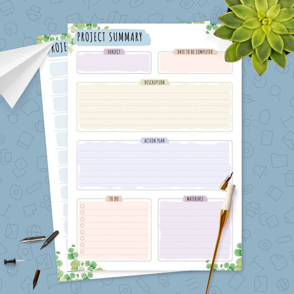 Download Printable Student Project Planner Template (Floral) Template