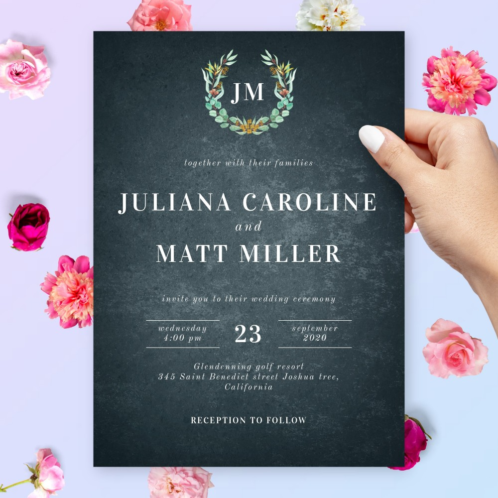 Customize and Download Stylish Boho Greenery Wedding Invitation with Black Background