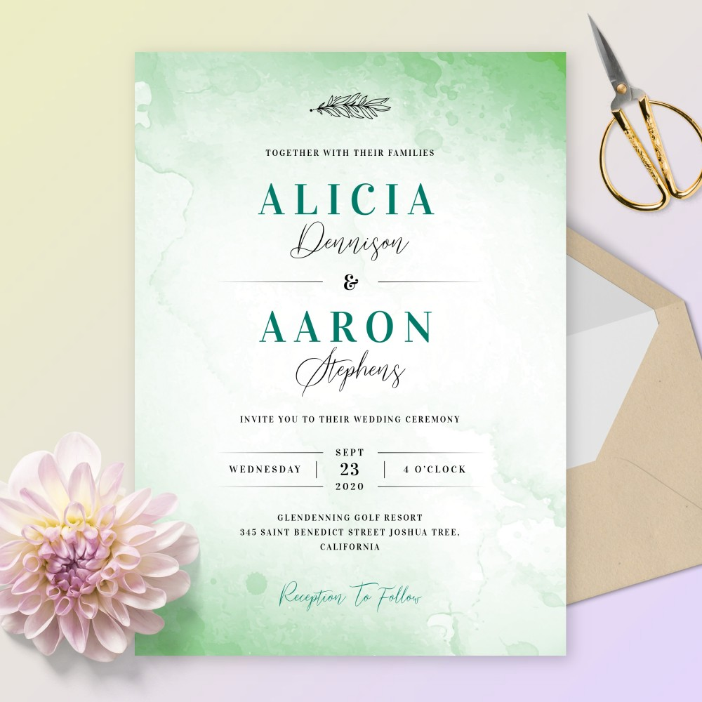 Customize and Download Stylish Green Watercolor Wedding Invitation