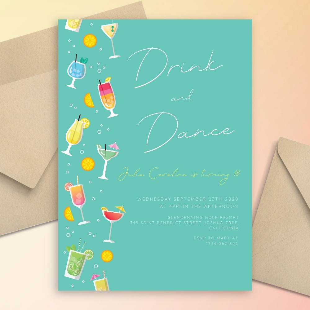 Customize and Download Summer Cocktails Dance Pool Party Invitation