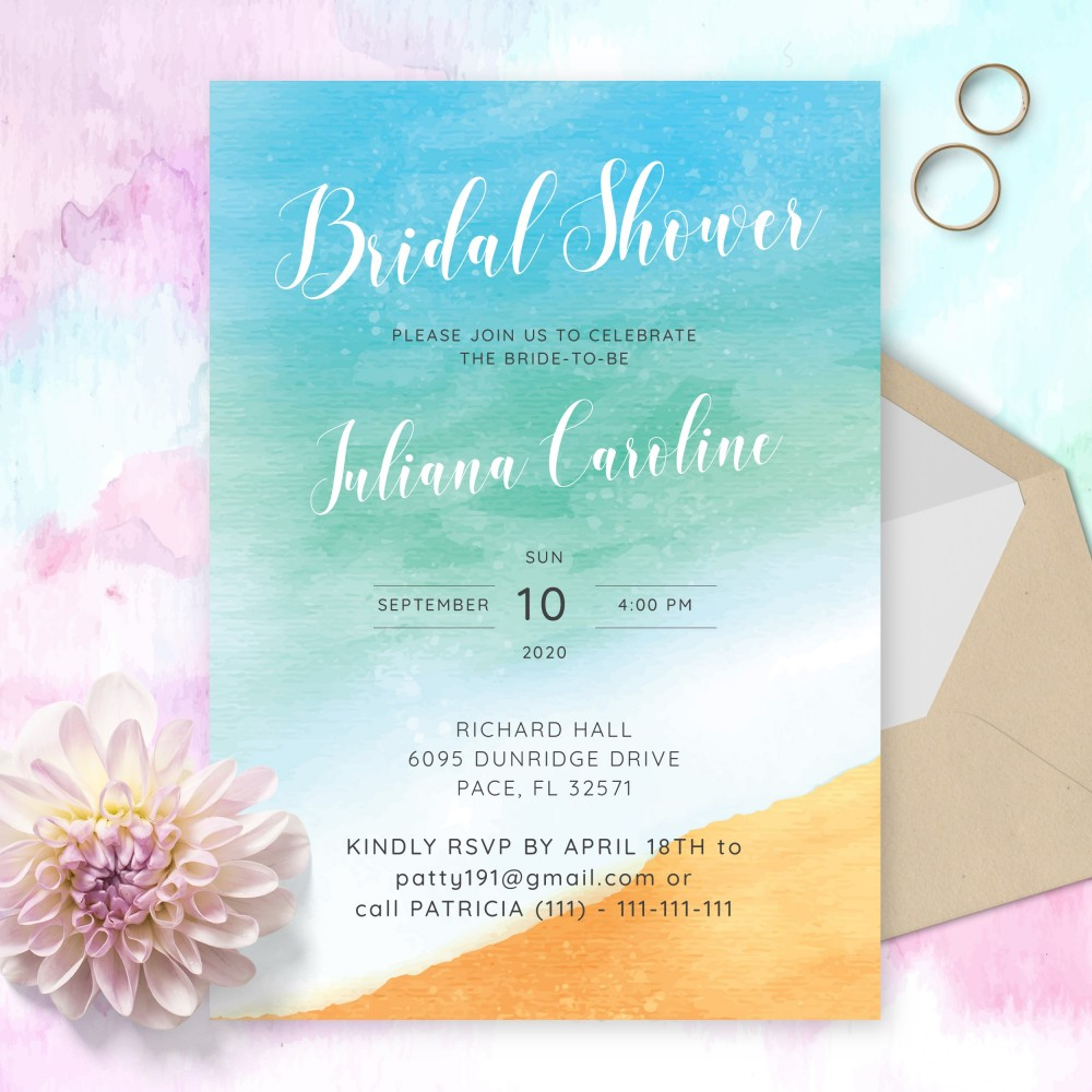 Customize and Download Sunny Beach Bridal Shower Invitation