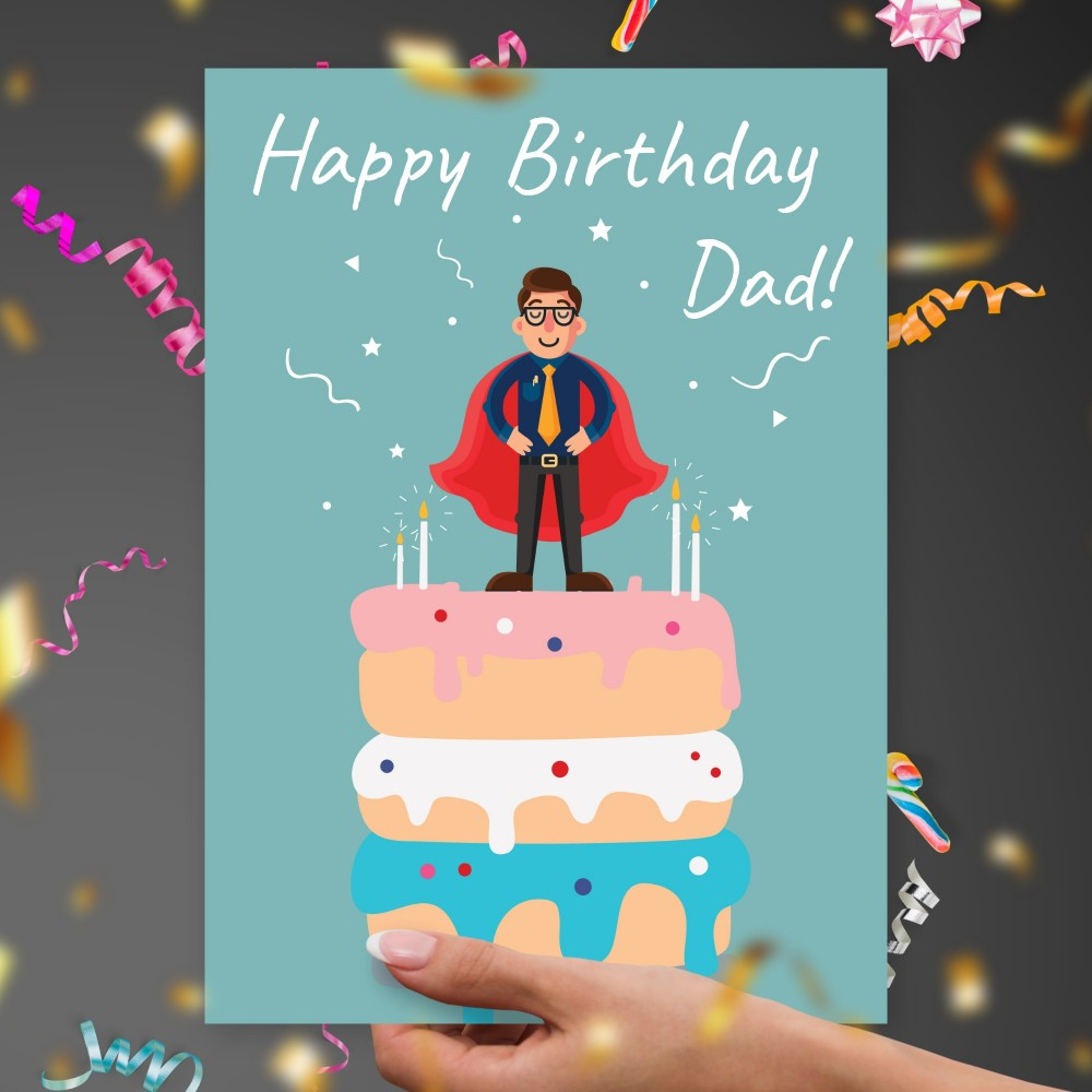 Customize and Download Superhero Dad's Birthday Card