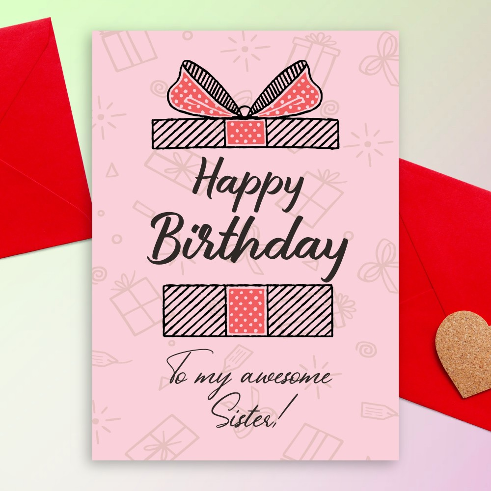 Customize and Download Surprise Box Birthday Card For Sister