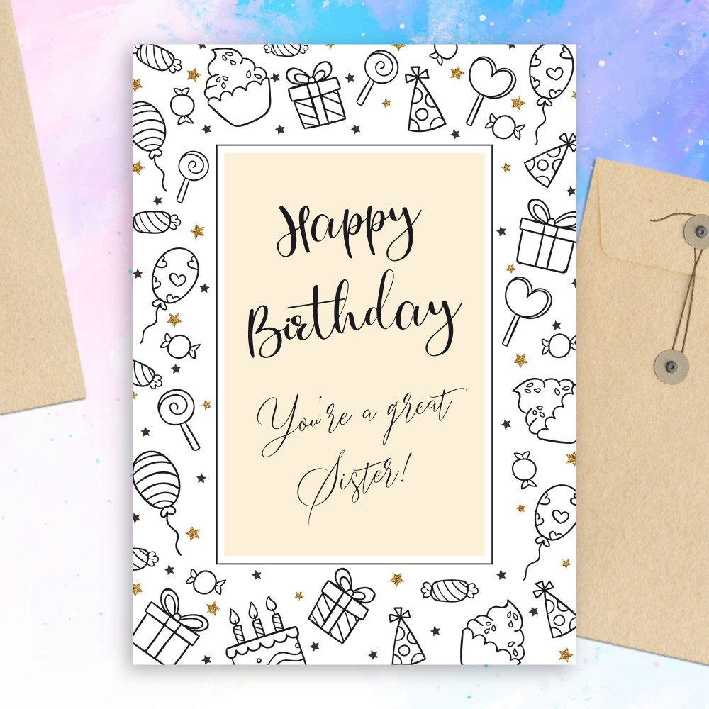 Customize and Download Sweet Birthday Card For Sister