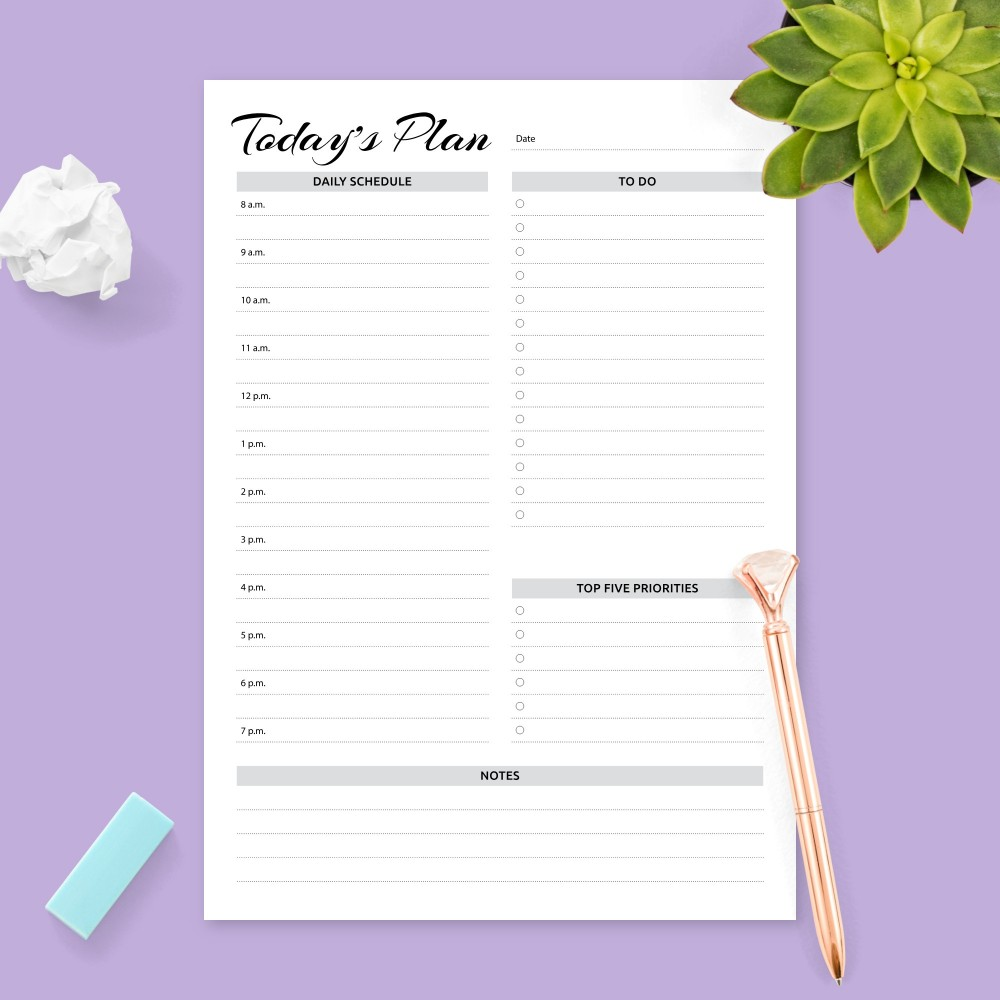 Download Printable Today's Plan and To-Do list AM/PM Format Template