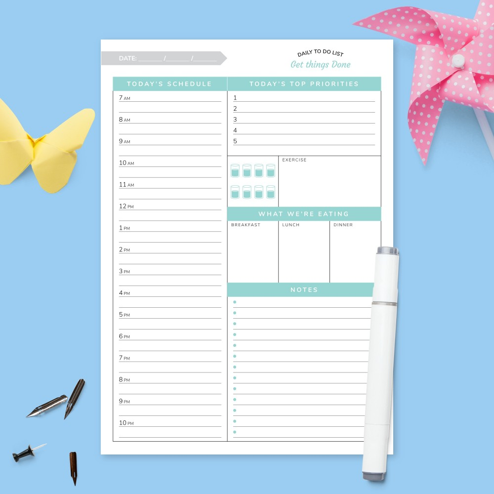 Download Printable Today's Schedule Planner Template