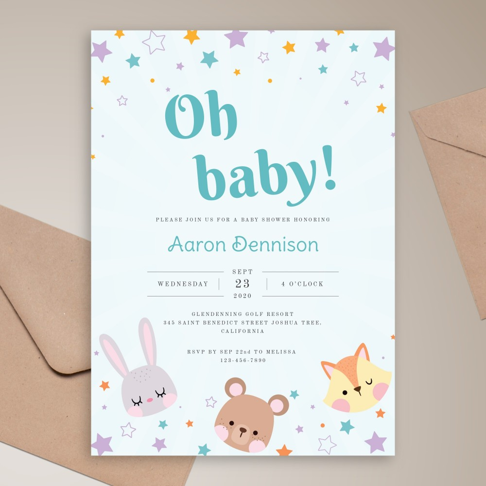 Customize and Download Toy Animals Baby Shower Invitation