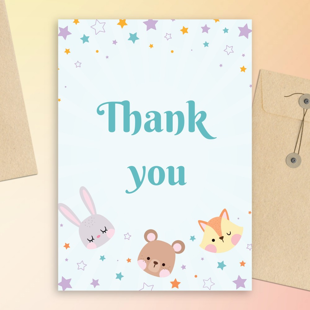 Customize and Download Toy Animals Baby Shower Thank You Card
