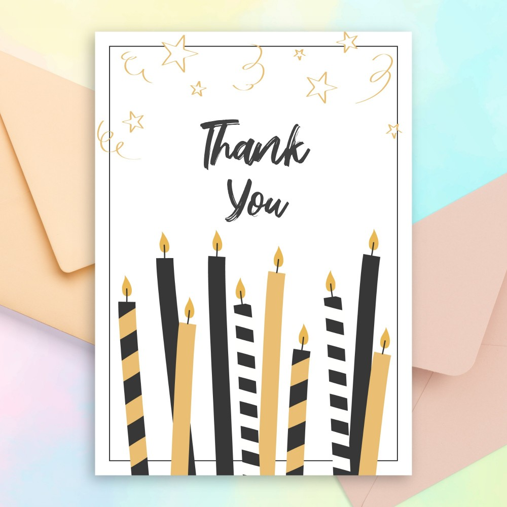 Customize and Download Twinkle Candles Birthday Thank You Card