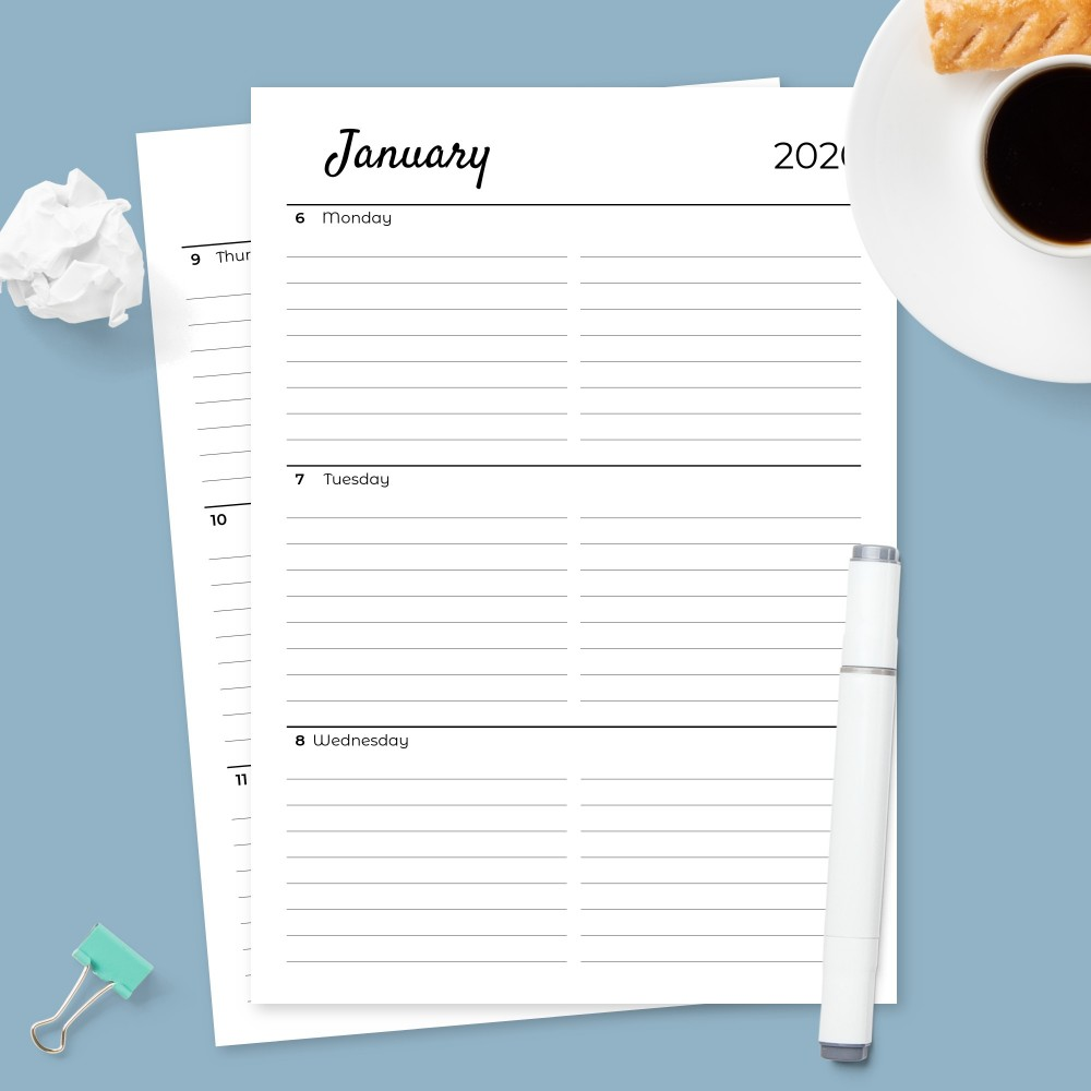 Download Printable Two Page Weekly Planner with Calendar Template