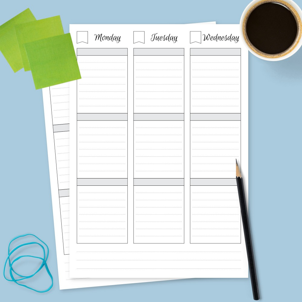Download Printable Two Pages Weekly Planner Undated Template