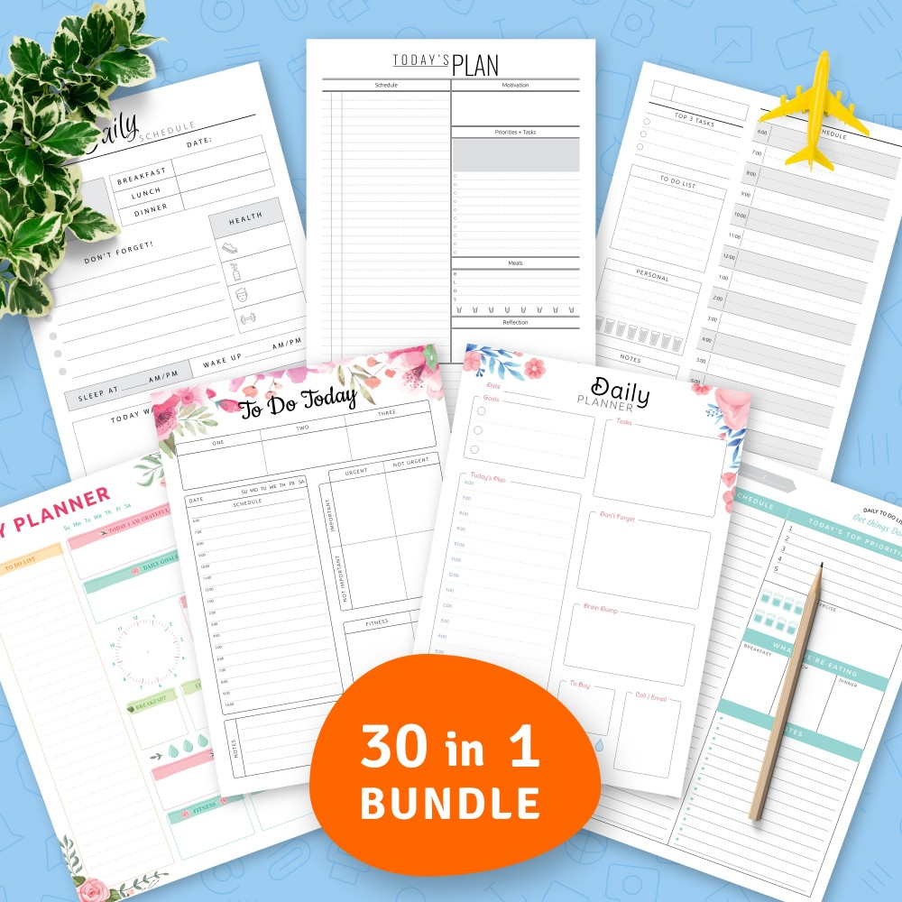 Download Printable Ultimate Daily Planner Templates Bundle (30 in 1) Template