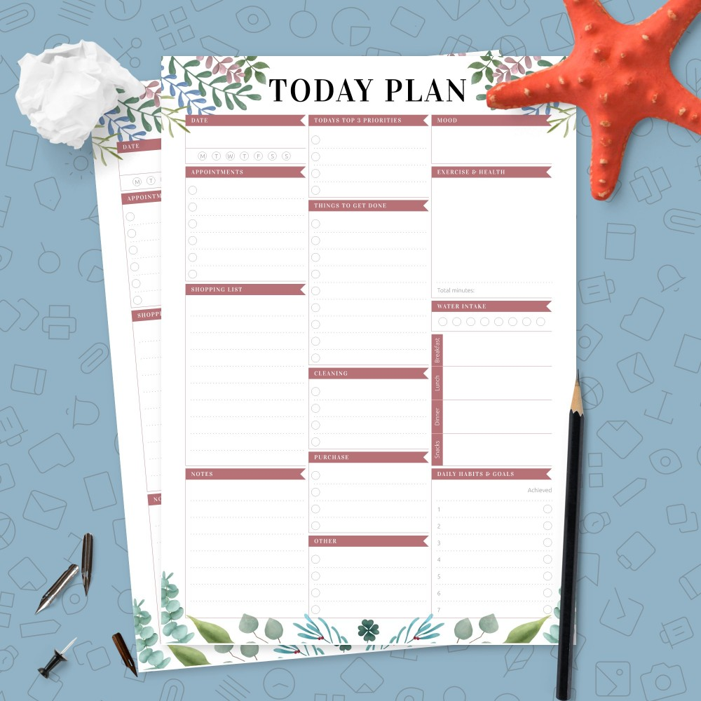 Download Printable Undated Daily Agenda Template