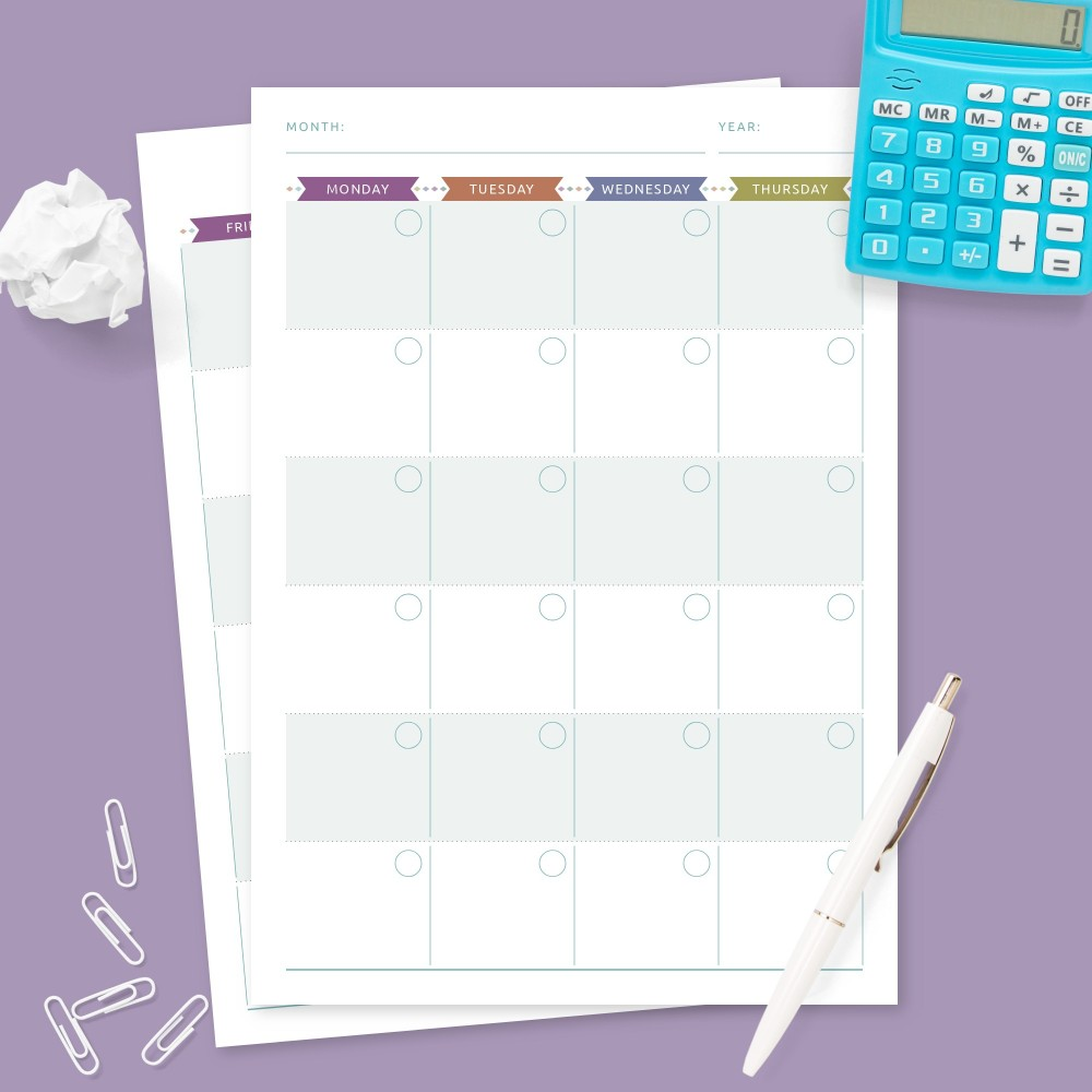 Download Printable Undated Monthly Calendar Colored Design Template