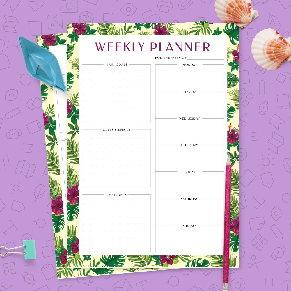 Download Printable Undated Weekly Organizer Insert Template